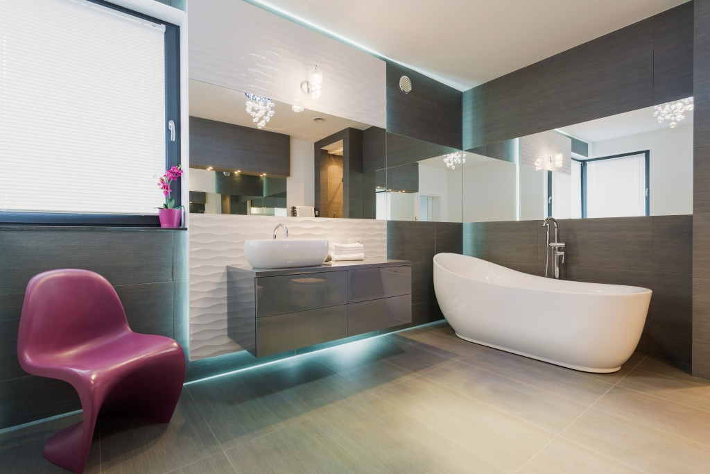 Horizontal view of contemporary exclusive bathroom interior