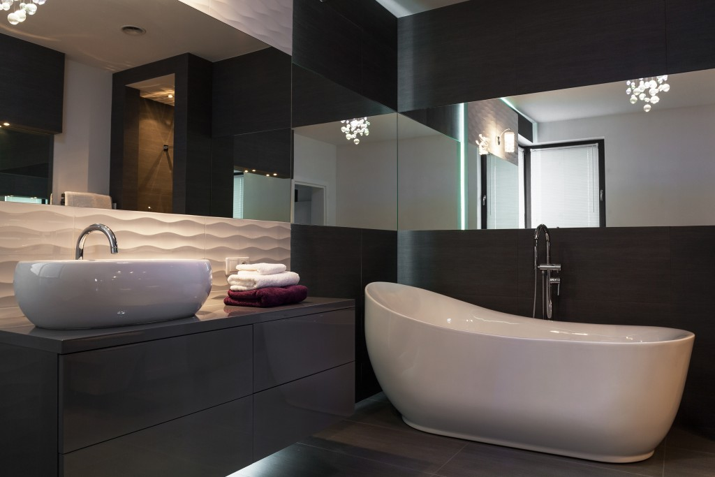 Picture of elegant fixture in luxurious dark bathroom interior